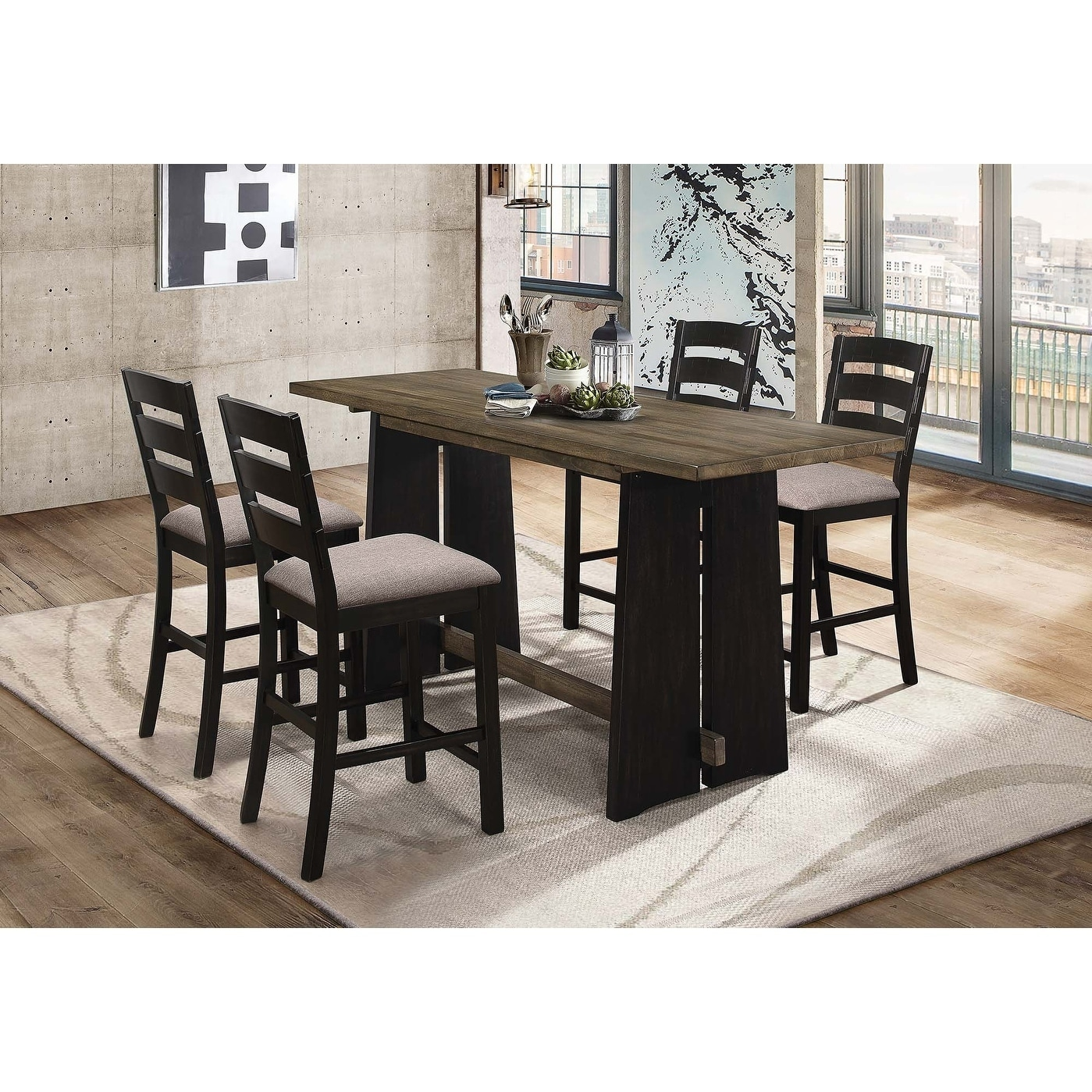 Georgia Industrial Khaki And Black Counter Height Table On Sale Overstock 27221102