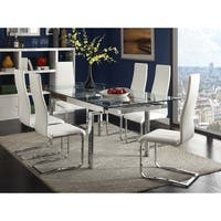 Rebecca Contemporary Chrome Glasstop Dining Table - Clear