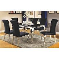 Belt Contemporary Black and Mirrored Dining Table - Chrome
