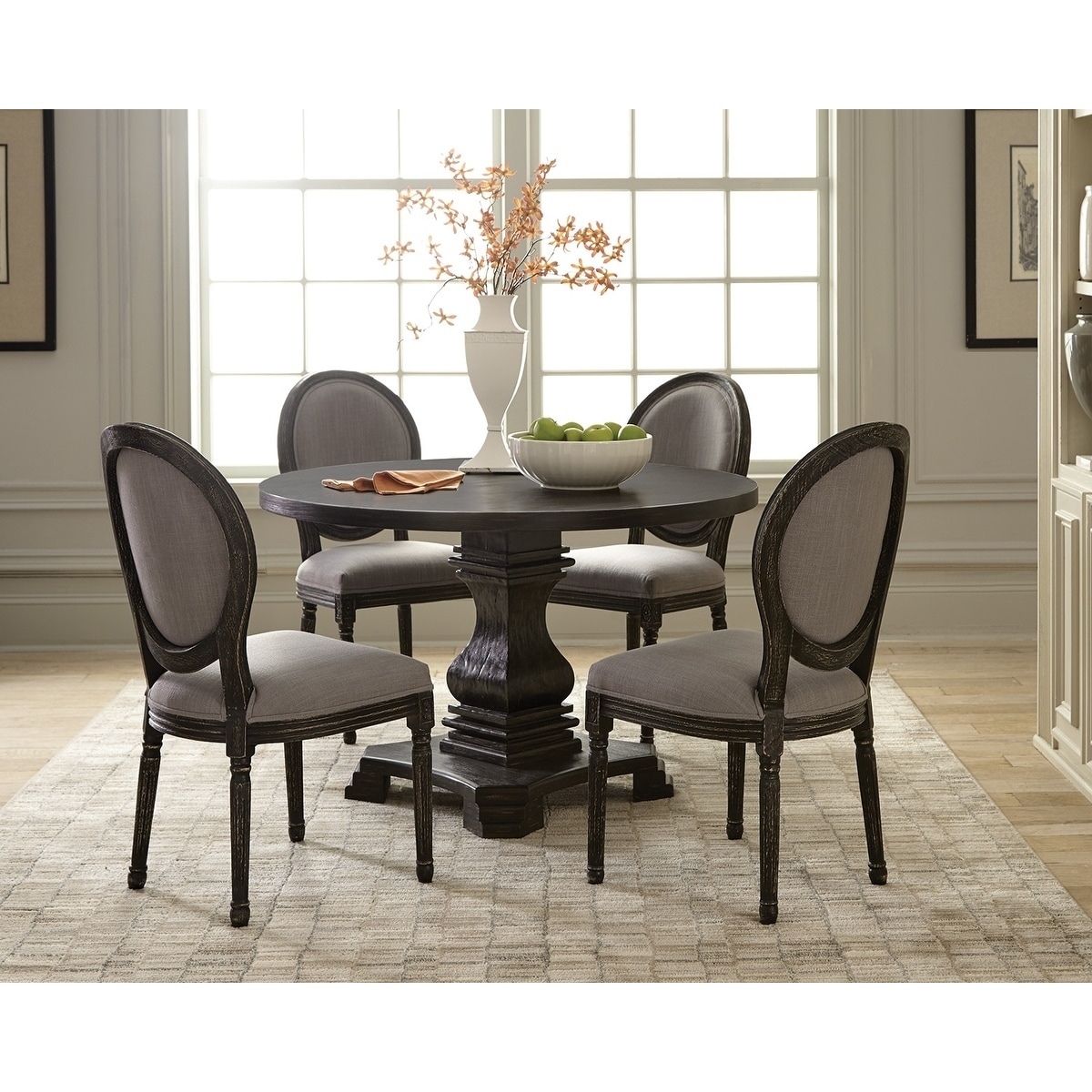 Terrific Columbus European Traditional Round Black Dining Table Antique Black Cjindustries Chair Design For Home Cjindustriesco