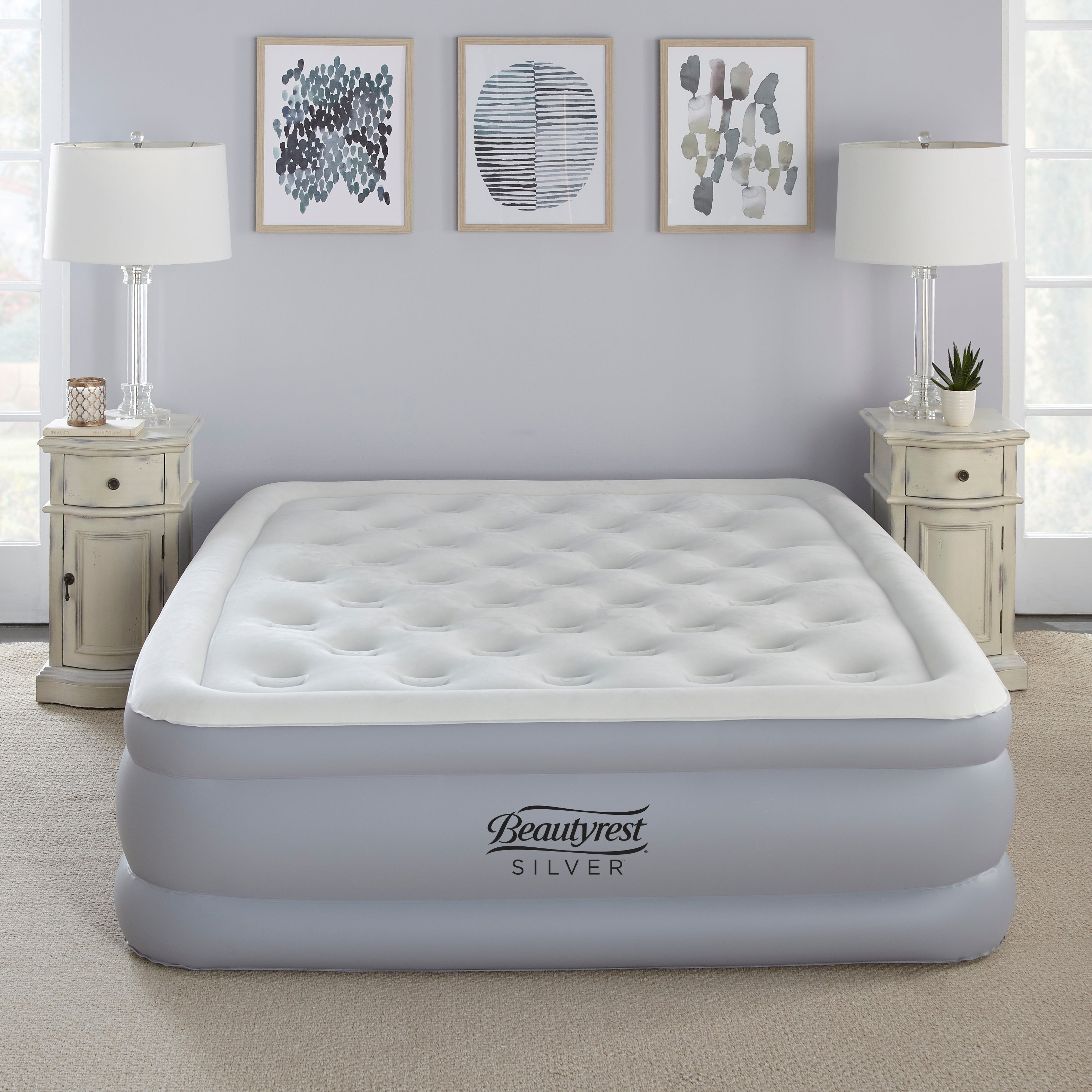 24 Inch Queen Size Top Sleeping Air Bed Inflatable Mattress Built-in Pump New