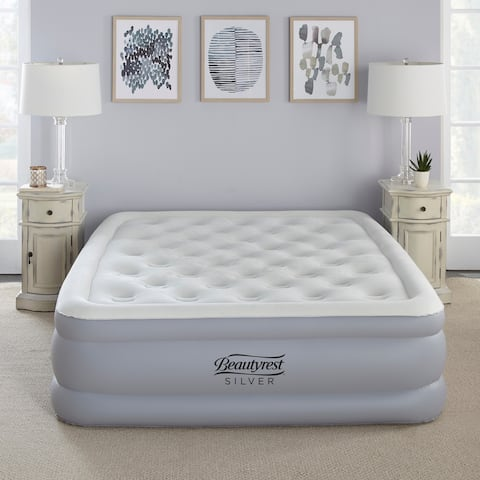 Beautyrest Silver 18-inch Queen Size Everfirm Adjustable Comfort Dual Coil Pillowtop Raised Air Bed Mattress with Built-in Pump