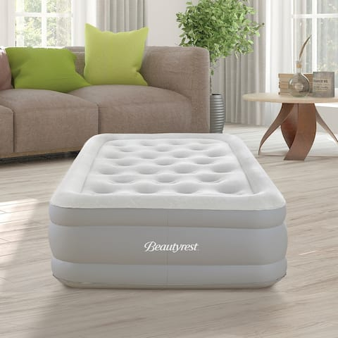 "Simmons Beautyrest Sky Rise 14"" Twin Adjustable Air Mattress with Pump"
