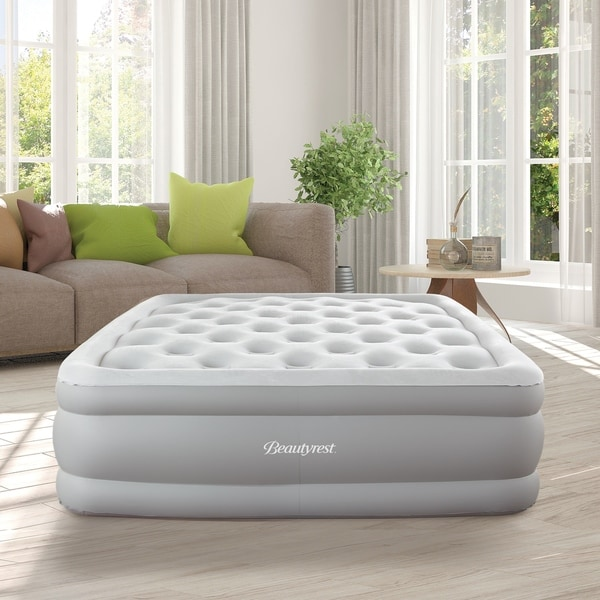 Beautyrest Sky Rise 18-inch Queen Size Adjustable Comfort Coil Top Raised Air Bed Mattress with Edge Support and Express Pump