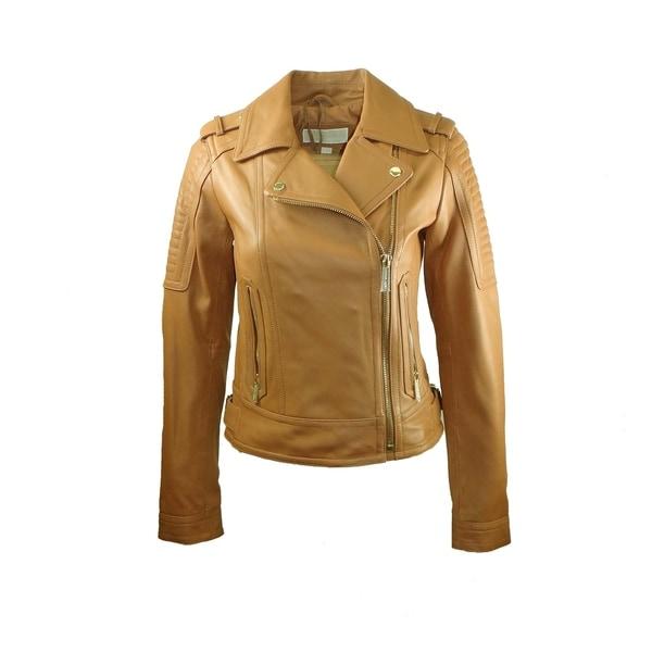 Michael Kors Women's Tan Leather Asymmetric Moto Jacket