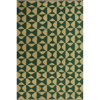 "Noori Rug Winchester Kilim Madden Ivory/Green Rug - 4'2"" x 6'3"""