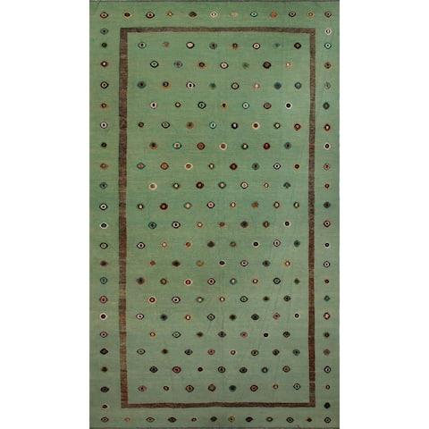 """Noori Rug High-Low Kilim Kaison Mint Green/Brown Rug - 9'10"""" x 16'5"""""""