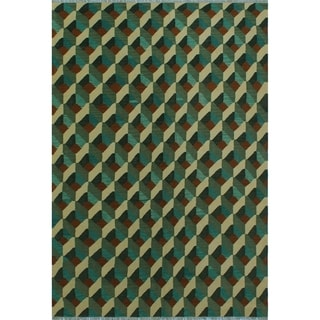 "Noori Rug Winchester Kilim Jacoby Green/Ivory Rug - 5'8"" x 8'3"""