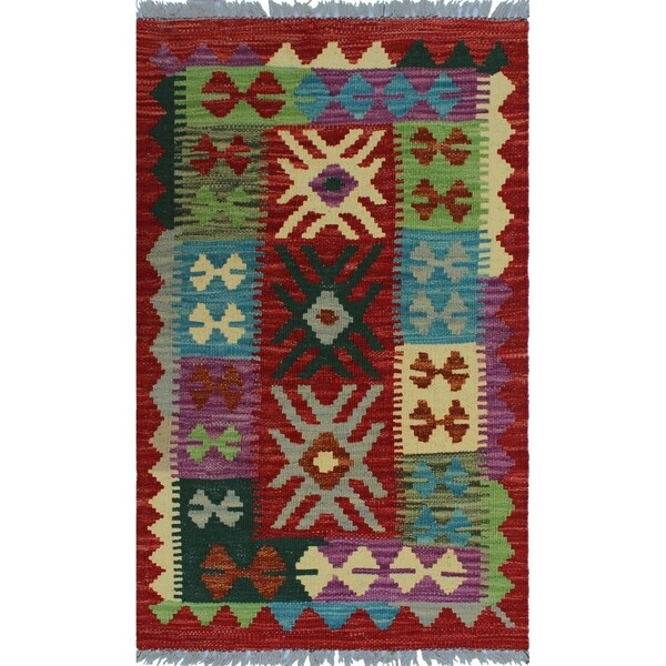 "Noori Rug Sangat Kilim Houston Red/Green Rug - 1'9"" x 3'0"""