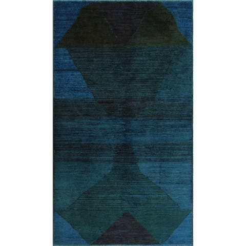 "Noori Rug Overdyed Chobi Carlene Blue/Green Rug - 2'10"" x 5'0"""