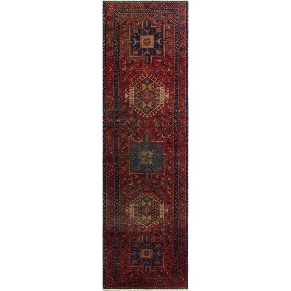 """Noori Rug Vintage Cheryle Red/Blue Runner - 3'1"""" x 10'8"""""""