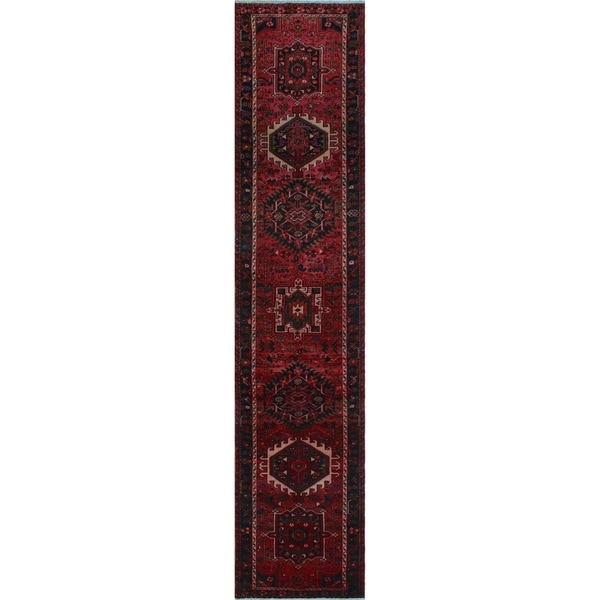 "Noori Rug Semi-Antique Kristen Pink/Black Runner - 2'8"" x 12'3"""