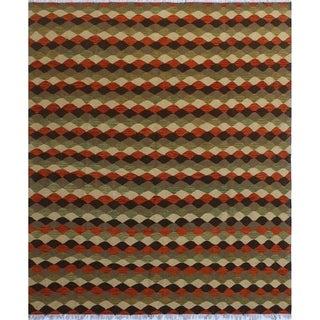 "Noori Rug Winchester Kilim Queen Orange/Green Rug - 8'3"" x 9'8"""