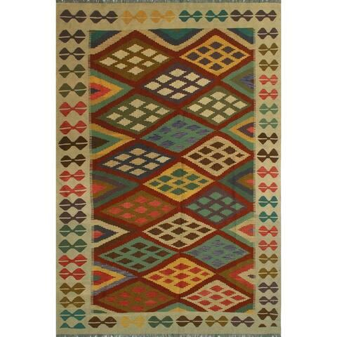 """Noori Rug Sangat Kilim Maryjo Rust/Ivory Rug - 6'8"""" x 9'10"""""""
