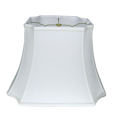 Cloth & Wire Slant Inverted Cut Corner Rectangle Softback Lampshade with Washer Fitter, Snow