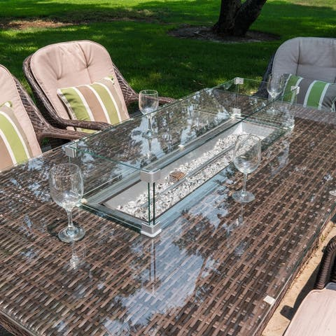 Outdoor Wicker Rectangle 6-Seat Gas Fire Pit Table by Moda Furnishings (TABLE ONLY)