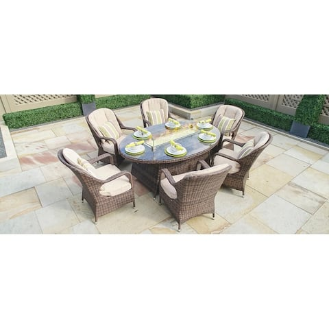 Outdoor Wicker 6-Seat Oval Gas Fire Pit Table by Moda Furnishings (TABLE ONLY)