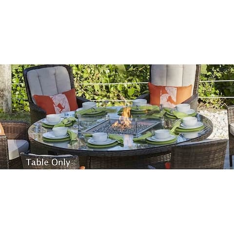 Outdoor 8-Seat Wicker Round Gas Fire Pit Table by Moda Furnishings (TABLE ONLY)