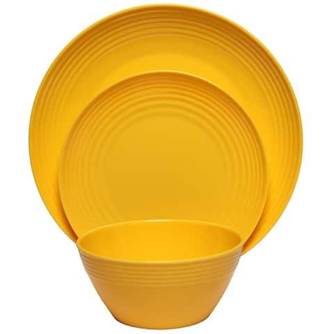Melange 18-Piece Melamine Dinnerware Set (Solids Collection) Color: Yellow Dinner Plate, Salad Plate & Soup Bowl (6 Each)