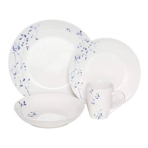 Melange Coupe 36 Piece Porcelain Dinner Set (Indigo Garden), Service for 12, Dinner Plate, Salad Plate, Soup Bowl & Mug