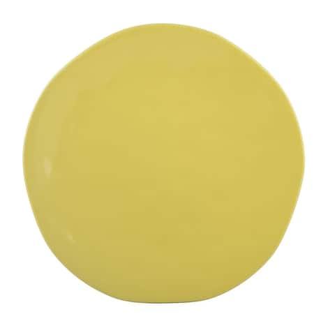 "Melange Stoneware Irregular Shape Collection 10.5"" Dinner Plates, Yellow, Set of 6"