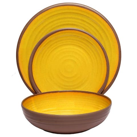 Melange 18-Piece Melamine Dinnerware Set (Clay Collection) Color: Yellow Dinner Plate, Salad Plate & Soup Bowl (6 Each)
