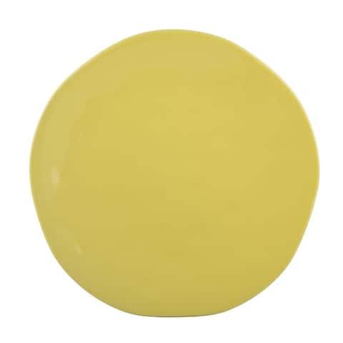 "Melange Stoneware Irregular Shape Collection 7.5"" Salad Plates, Yellow, Set of 6"