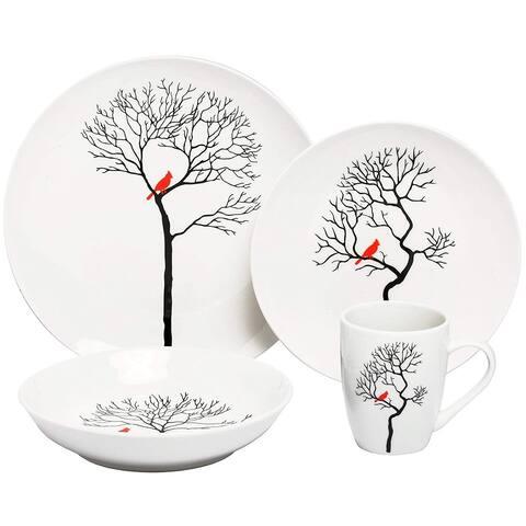 Melange Coupe 32 Piece Porcelain Dinner Set (Birds in Forest), Service for 8, Dinner Plate, Salad Plate, Soup Bowl & Mug