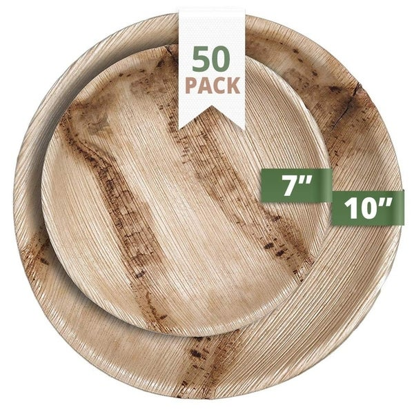 CaterEco Round Palm Leaf Plates Set (50 Pack)