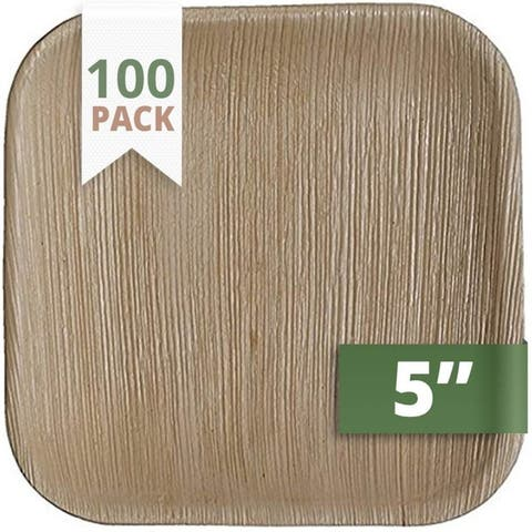 CaterEco 5-inch Square Palm Leaf Plates Set (100 Pack)