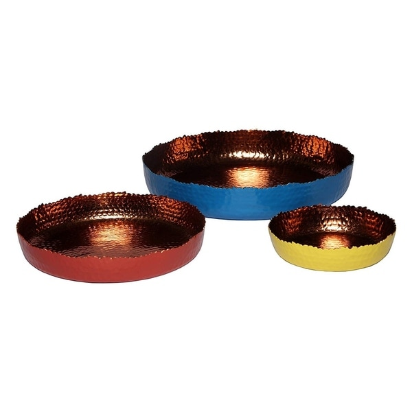 "Melange Home Decor Cuivre Collection, Set of 3 Round Platters - 6"", 9"" and 12"", Color - Multicolor"