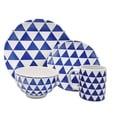 Melange Porcelain 18-Piece Dinnerware Set (Indigo Triangles)   Service for 6 Dinner Plate, Salad Plate & Soup Bowl (6 Each)