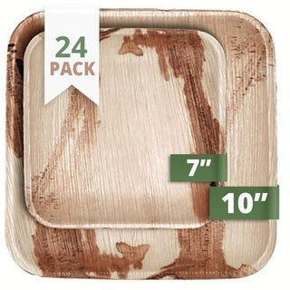 CaterEco Square Palm Leaf Plates Set (24 Pack), (12) Dinner Plates and (12) Salad Plates, Ecofriendly Disposable Dinnerware