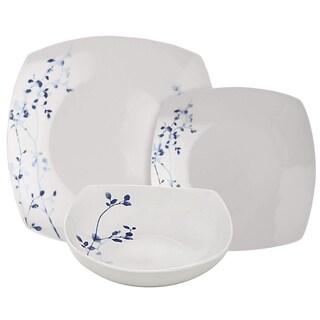 Melange 608410087781 16-PC Square Porcelain Dinner Set, Indigo Garden (Pack of 16)