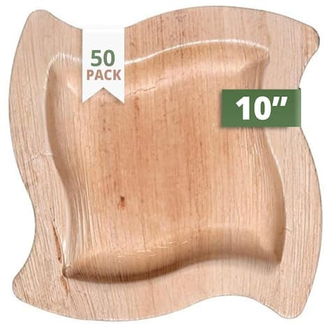 """CaterEco Wave Palm Leaf 10"""" Dinner Plates , 50 Pack , Ecofriendly Disposable Dinnerware"""