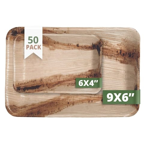 CaterEco Rectangle Palm Leaf Plates Set , 50 Pack , (25) Dinner Plates and (25) Salad Plates