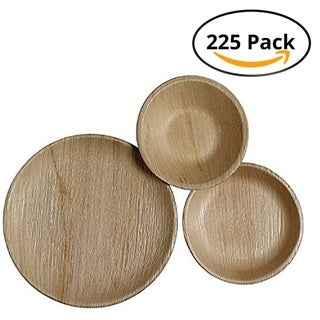 CaterEco Round Palm Leaf Plates Set (75 Pack) , (25) Dinner Plates, (25) Salad Plates and (25) Bowls ,