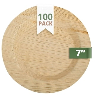 CaterEco 7-inch Deluxe Round Palm Leaf Plates Set (100 Pack) , Ecofriendly Disposable Dinnerware