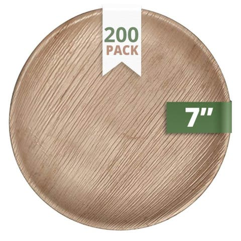 """CaterEco Round Palm Leaf 7"""" Salad Plates , 200 Pack , Ecofriendly Disposable Dinnerware"""