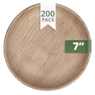 "CaterEco Round Palm Leaf 7"" Salad Plates , 200 Pack , Ecofriendly Disposable Dinnerware"