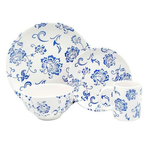 Melange Porcelain 18-Piece Dinnerware Set (Indigo Royale) Service for 6 Dinner Plate, Salad Plate & Soup Bowl (6 Each)