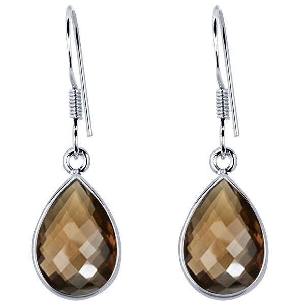 cb3a1299da2133 Shop 925 Sterling Silver Pear Dangle Earrings 8.12 Carat Smoky ...