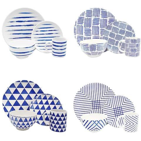 Melange Porcelain 16-Piece Dinnerware Set (Indigo Collection) 4 Dinner Plate, Salad Plate, Soup Bowl & Mug (4 Each)
