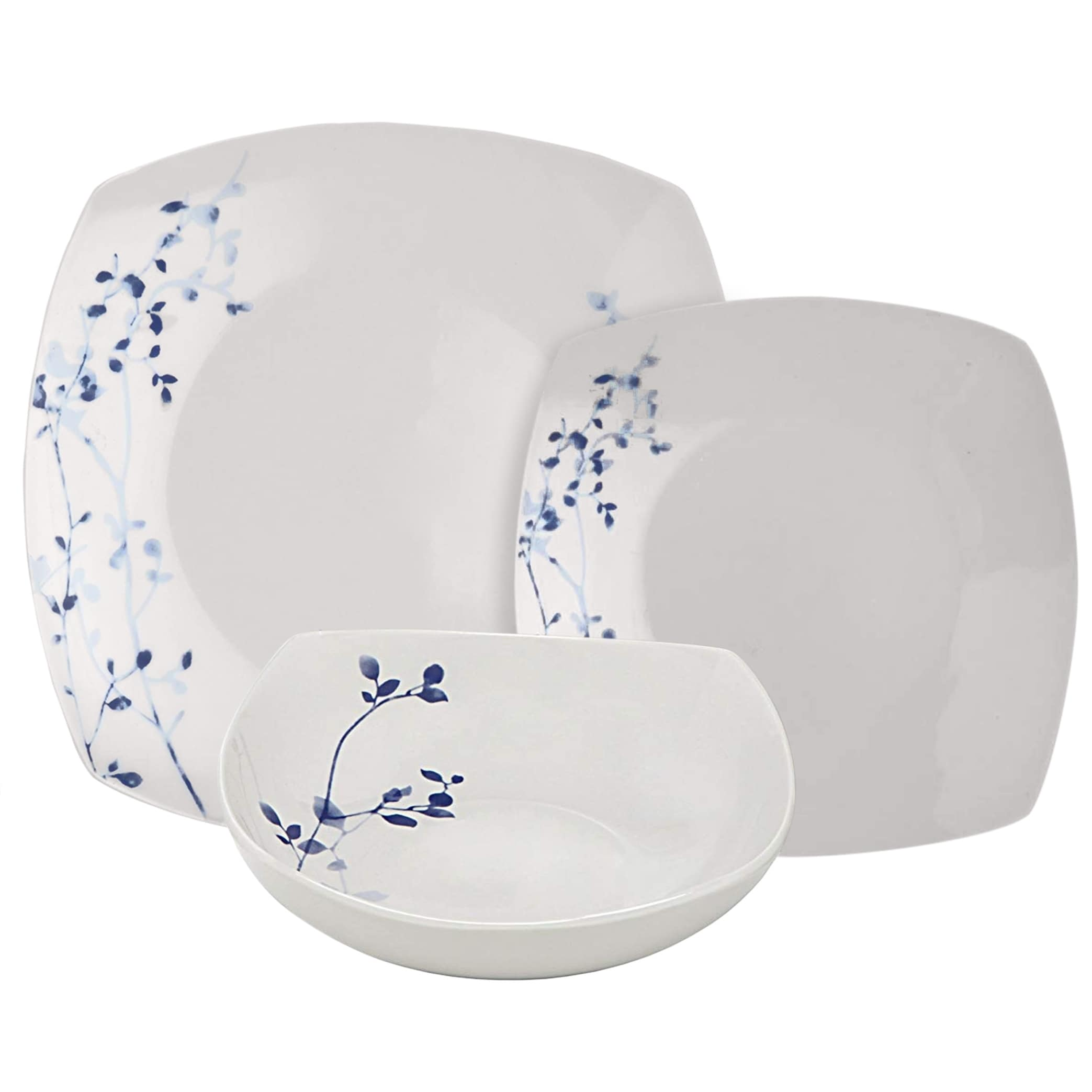 Dinnerware Sets 6 Each Dishwasher Oven Safe Salad Plate Soup Bowl Birds In Forest Collection Microwave 608410088016 Melange Coupe 18 Piece Porcelain Dinnerware Set Service For 6 Dinner Plate Home Kitchen