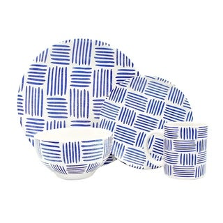 Melange Porcelain 18-Piece Dinnerware Set (Indigo Tally Marks)   Service for 6 Dinner Plate, Salad Plate & Soup Bowl (6 Each)