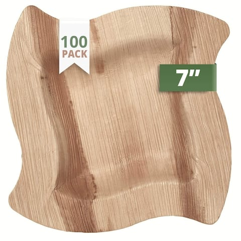 """CaterEco Wave Palm Leaf 7"""" Salad Plates , 100 Pack , Ecofriendly Disposable Dinnerware"""