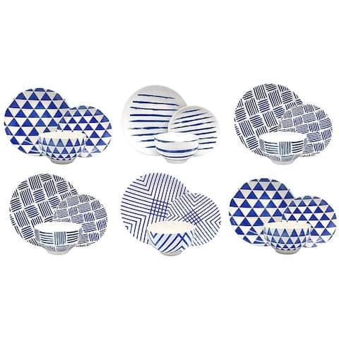 Melange Porcelain 18-Piece Dinnerware Set (Indigo Collection) Service for 6 Dinner Plate, Salad Plate & Soup Bowl (6 Each)
