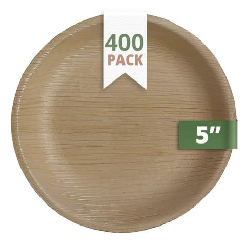 CaterEco 5-inch Round Palm Leaf Plates Set (400 Pack) , Ecofriendly Disposable Dinnerware