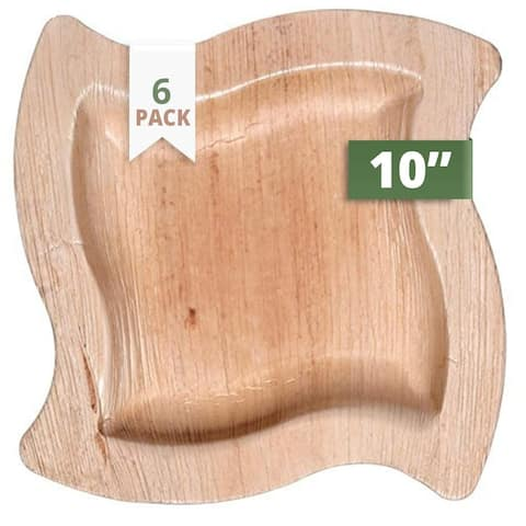 """CaterEco Wave Palm Leaf 10"""" Dinner Plates , 6 Pack , Ecofriendly Disposable Dinnerware"""
