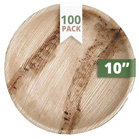 "CaterEco Round Palm Leaf 10"" Dinner Plates , 100 Pack , Ecofriendly Disposable Dinnerware"